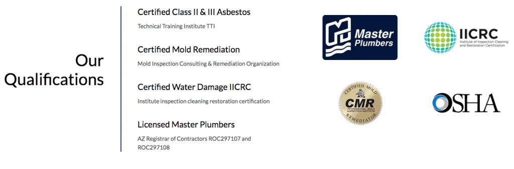 Plumber of Phoenix Certifications