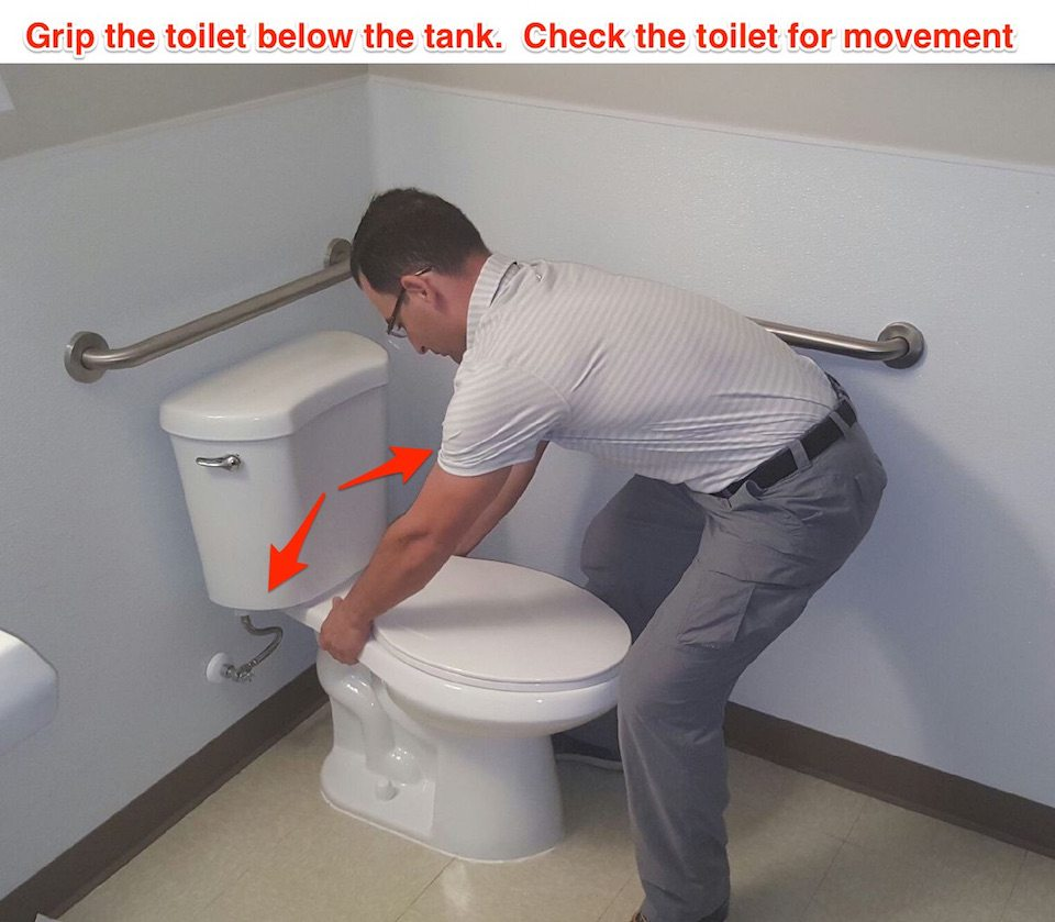 check the toilet for movement